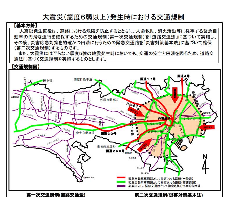 大震災発生時の交通規制